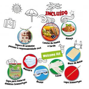 """""""Welcome Kit"""" e serviços incluídos na inscrição aos campos de férias de verão da Science4you"""